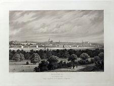 Frankfurt / Oder Gesamtansicht. Originaler Stahlstich um 1860