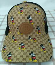 New Mickey Mouse GG Brown Baseball Hat Adjustable Buckle Casual Style Unisex
