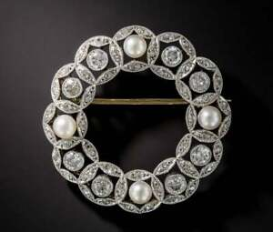 Antique Victorian 5.18 Ct 14K White Over Pearl & Diamond Suit Corsage Brooch Pin