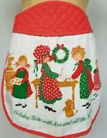 Vtg Holly Hobbie Christmas Tree Holiday Half Apron American Greetings Red White