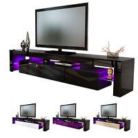 """Black High Gloss Modern TV Stand Unit Media Entertainment Center """"Lima V2"""""""