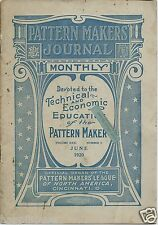Pattern Makers' League Journal Magazine 1920 / Samuel Gompers / Labor Unions