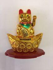 FENG SHUI SOLAR POWER MANEKI NEKO LUCKY MONEY CAT WAVING  ARM HAND ATOP INGOT