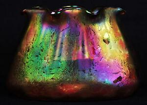Antique Bohemian Art Nouveau Glass Loetz Pillow Vase Pinch Flared Orange 1890