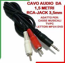 Cavo Audio JACK 3,5mm 2 RCA Maschio doppio Prolunga Auto AUX Stereo TV PC CASSE
