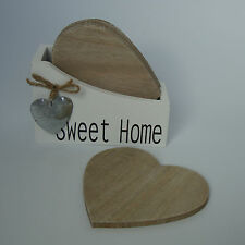 Shabby Chic French Style Heart Coaster Set x 4 Home Sweet Home - Brand New