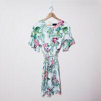 Decjuba Womens Size 12 White Floral Tie Waist Summer Fresh Dress Flutter Sleeve