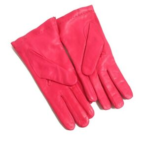 NWOT Anonymous Made in Italy INTENSE Hot Pink Leather Cashmere Lined Gloves 7.5