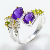 Sterling 925 Silver Natural Amethyst 7x5 Chrome diopside and peridot/ RVS84