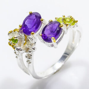 925 Sterling Silver Natural Amethyst and Chrome diopside and peridot Ring/ RVS84