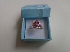 Vintage Soviet Rose Gold Ring 14K 583 Amethyst Size 7.5 (17.65 mm) Russian USSR