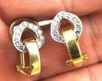 Gorgeous Designer 18k Gold .4ct VS Diamond Huggie Omega Back Earrings 5.9gm