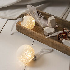 Pair of Light Up LED Star Pattern White Ceramic Christmas Tree Baubles Ornaments