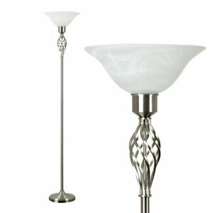 Traditional Brushed Chrome Barley Twist Floor Lamp Frosted Alabaster shade
