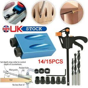 UK 14/15× Pocket Hole Jig Kit Woodworking Guide Oblique Drill Angle Hole Locator