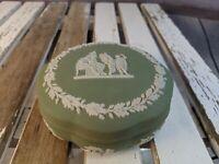 vintage Wedgwood jasperware green jewelry box round trinket antique cherubs