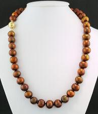 Zuchtperlen-Halskette bronzefarben und goldbraun 10 mm Wert 800 €, neu