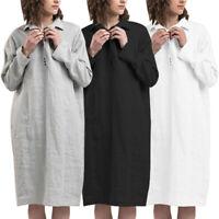 Winter Women Ladies Midi Dress Pullover Jumper Sweatshirt Long Shirt Dress Plus