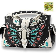 Western Butterfly Rhinestone Buckle Shoulder Side Pocket  Handbag -Bk