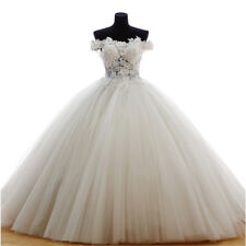 Off Shoulder Wedding Dresses Bridal Gowns Lace Appliques Beaded Ball Gown Custom