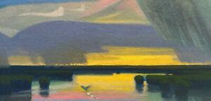 Twilight Wetlands Duck Realism Landscape OIL PAINTING ART IMPRESSIONIST Original