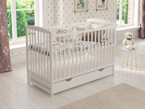 Baby Cot Bed 120x60cm with Drawer & Mattress & Waterproof Fitted Terry Cot Sheet