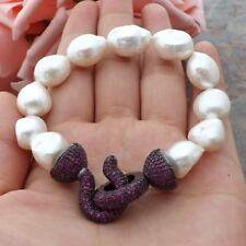 GE060109 8'' White Baroque Pearl Bracelet CZ Clasp