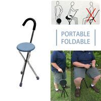 Drive Adjustable Stainless Cane Seat Folding Walking Stick Chair Tripod Stool