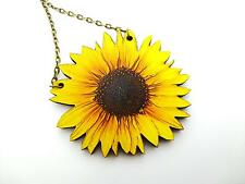 "VIBRANT YELLOW STATEMENT WOODEN SUNFLOWER ANTIQUE BRONZE NECKLACE PENDANT 18"" A"