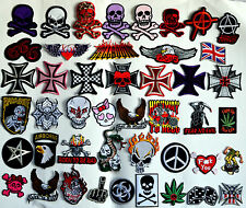 Iron On Woven Patches patch Skulls Cross Punk Rock Goth Biker skater jacket emo