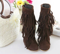 Women's Mid Calf Boots Tassels Fringe Suede Pull On Flats Autumn Casual Shoes