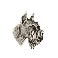 Schnauzer cropped head, silver covered pin, high qauality Art Dog CA