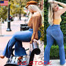Women Flare Denim Jeans Bell Bottom Wide Leg Pants Hippie Trousers Plus Size USA