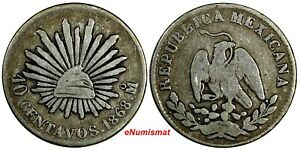 Mexico SECOND REPUBLIC Silver 1868 Mo 10 Centavos 3 YEARS TYPE KM# 402 (19 192)