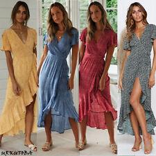 Women Wrap Summer Boho Floral Paisley Maxi Print Dress Ladies Holiday Beach
