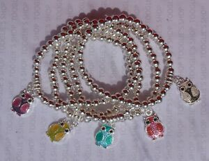 HANDMADE SILVER PLATED BEAD STACKING STRETCH BRACELET COLOURED OWL CHARM (020)