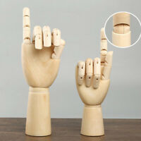 18cm Jointed Wood Hand Mannequin Left Hand Jewelry Stand Watch Ra Display
