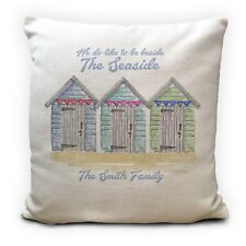 Personalised Beside the Seaside Beach Huts Cushion Cover Family Surname 16""