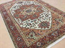 """Persian Oriental Area Rug Serapi Hand Knotted Wool Beige Rust 4'.0"""" X 6'.1"""""""