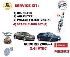 PARA HONDA ACCORD 2.4i VTEC 08 > AIRE ACEITE POLLEN 3 KIT DE FILTRO+BUJÍAS SET