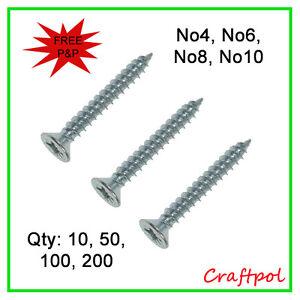 No4, No6, No8, No10  Twin thread Wood Screws, Pozi Countersunk - Zinc Plated N20