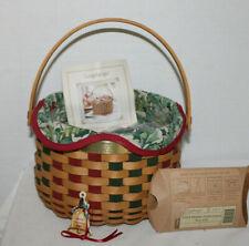 New ListingNew 2003 Longaberger Caroling Basket, Protector, Fabric, Tie-On, Card