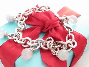 "Tiffany & Co Silver Fascination Multi Gemstone Charm Dangle Bracelet 7.75"""