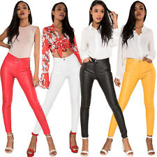 Women Leather Look Trousers High Waist Faux Skinny Pants Pants Stretch Leggings
