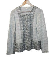 Jockey Sweater Cardigan Snap Gray Black Womens Size Large Long Sleeve Casual