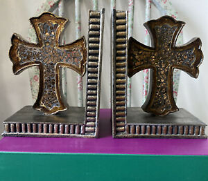 Gothic Cross Book Ends Mosaic Bronze Colour - Goth Vamp Interior Bookends