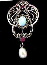 Sterling Silver Art Nouveau Plique a Jour Gilson opal Pearl Brooch Pin Pendant