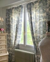 """Beautiful CURTAINS shabby COTTAGE chic FRENCH TOILE DE NANTES each 76""""W 85.4""""D"""