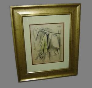 Superb Cuba Attributed to Wilfredo Lam Signed Dated 1965 Colored Crayon Painting