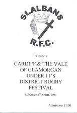 CARDIFF & VALE OF GLAMORGAN UNDER 11s DISTRICT RUGBY FESTIVAL WALES 2003 PROGRAM